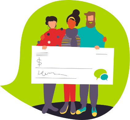 An illustration of three individuals holding a giant cheque