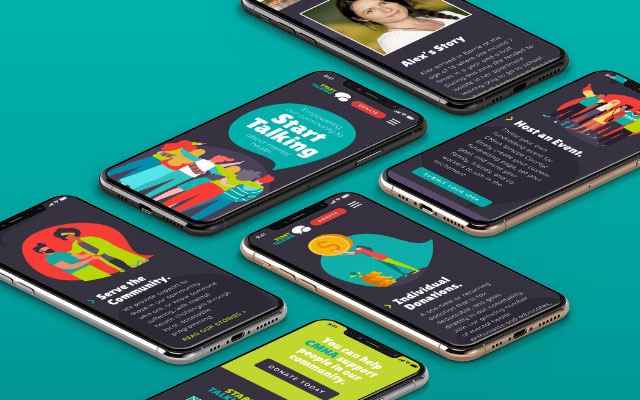 The CMHA Start Talking website displayed on multiple smartphones